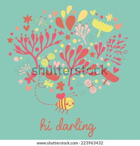 Stylish floral card made of bee, flowers and butterflies. Ideal summer design for modern cards - stock vector