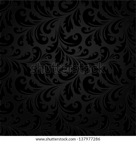 Stylish floral pattern. Black texture. A seamless vector background. - stock vector