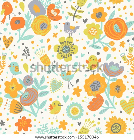 Stylish floral seamless pattern with birds in vector. Cute cartoon natural background in bright colors - stock vector