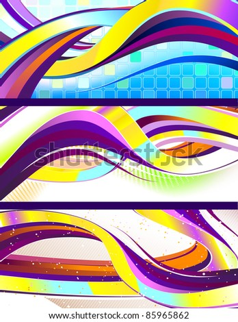 stylish flowing abstract vector banners