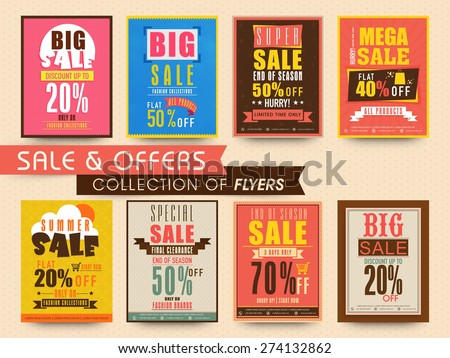 Stylish flyers collection of sale with discount offer for limited time.  - stock vector
