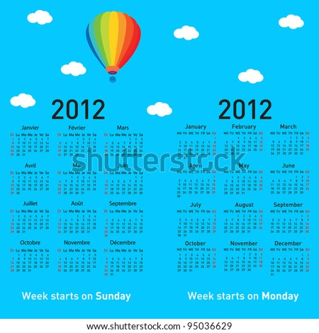 Stylish French calendar with balloon and clouds for 2012. In French and English. Rasterized version also available in portfolio. - stock vector