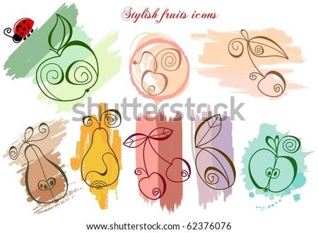 Stylish fruits icons - stock vector
