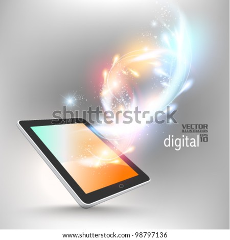 stylish futuristic tablet concept design - stock vector