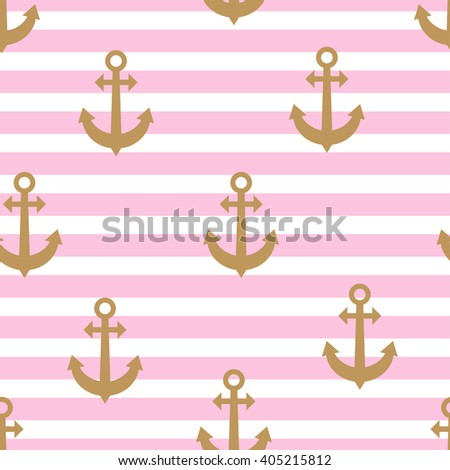 Stylish Geometric Seamless Nautical Pattern With Gold Anchors And Pink Stripes Design Element For Wallpapers