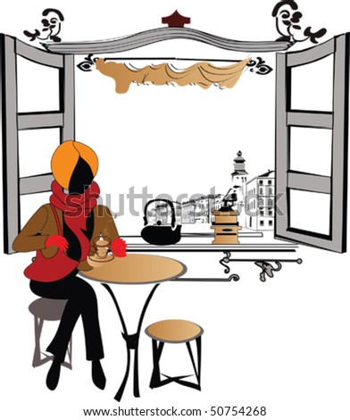 Stylish girl in the cafe - stock vector