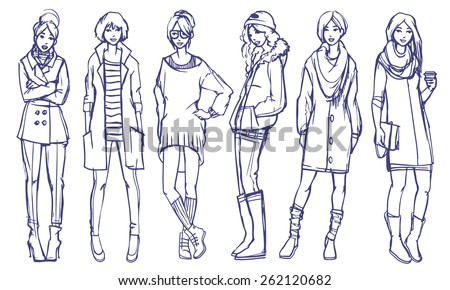 Stylish Girls Fashion Illustration. Six different street style looks. Spring and fall season casual wear. Vector outline freehand sketch isolated on white background - stock vector