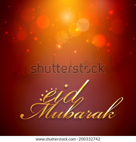 Stylish golden text Eid Mubarak on shiny red and yellow background with mosque silhouette.  - stock vector