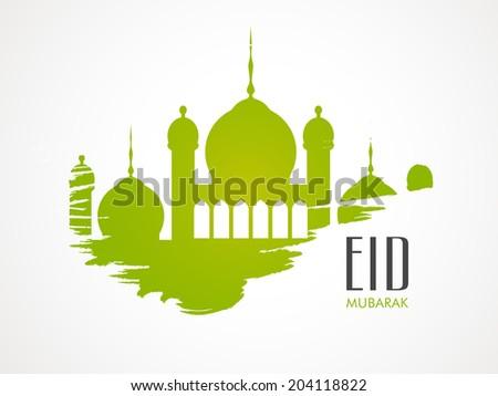Stylish green mosque on grey background for Muslim community festival Eid Mubarak celebrations.  - stock vector