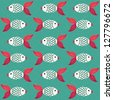 Stylish green pattern with fish. Vector illustration - stock photo