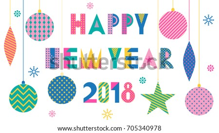 Stylish Greeting Card Happy New Year Stock Vector (Royalty Free ...