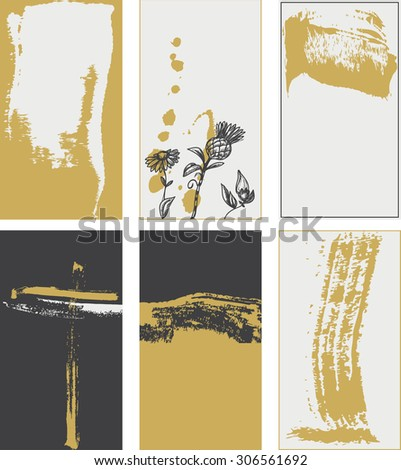 Stylish grunge cards backgrounds, trendy colors - stock vector