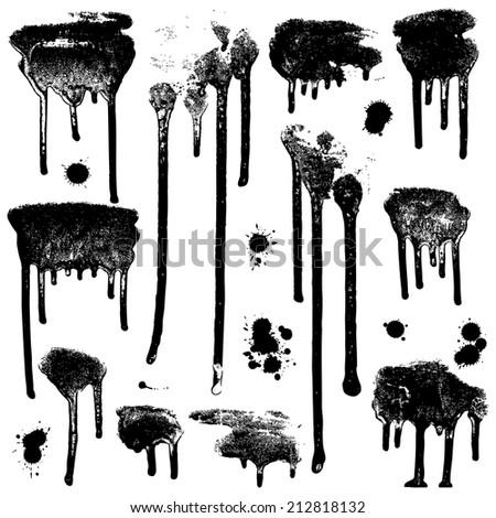 Stylish grunge ink splits set. Design symbols Vector isolated - stock vector