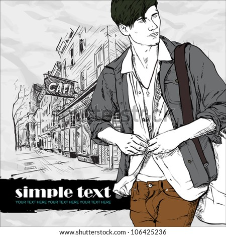 Stylish guy with bag  on a street-cafe background. Vector illustration. - stock vector