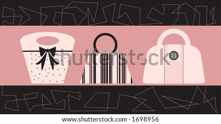 Stylish handbags in a trendy boutique display. Fully editable vector illustration.