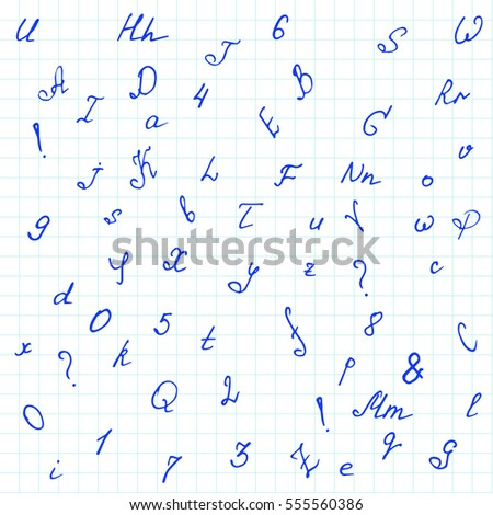 Stylish handwritten alphabet and numbers. Doodle font isolated on notebook page. Vector vintage seamless pattern. Education background.