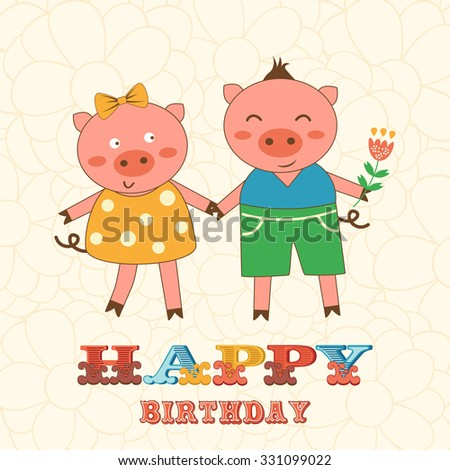 Stylish Happy birthday card with cute pigs couple.  Illustration in vector format - stock vector