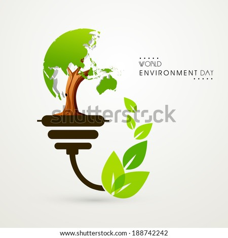Stylish illustration for World Environment Day with green tree and leaves, concept for save the trees. - stock vector