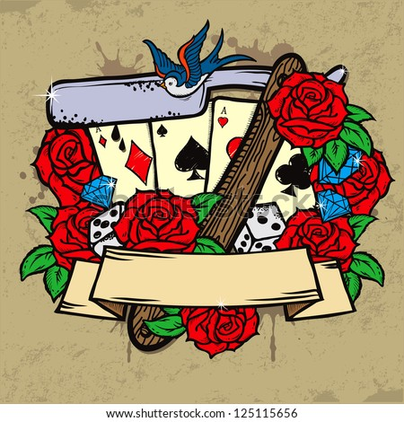 Stylish illustration in old school tattoo style with razor, four aces and seven red roses - stock vector