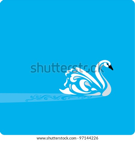 Stylish illustration of a Swan on a placid water - stock vector