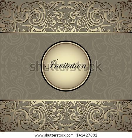 Stylish invitation card, elegant golden design, Vintage - stock vector