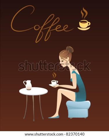 Stylish Lady Drinking Coffee - stock vector