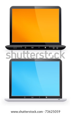 Stylish laptop on a white background - stock vector