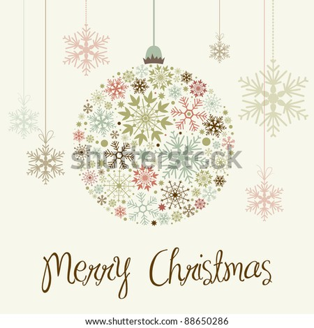 Stylish Merry Christmas Card - stock vector