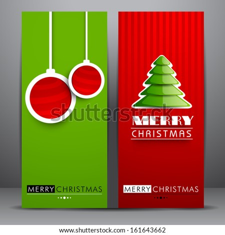 Stylish Merry Christmas celebration banners with hanging Xmas balls and glossy Xmas tree on red and green background.  - stock vector