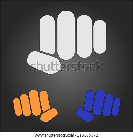 Stylish minimalistic vector simple logo fist in different colors on a dark black background - stock vector