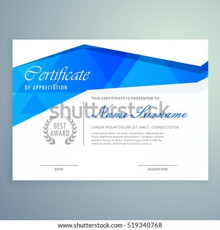 Stylish Modern Certificate Template Design Blue Stock Photo Photo