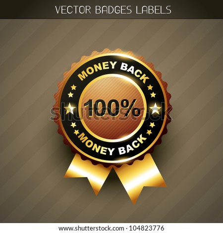 stylish money back guarantee vector label - stock vector