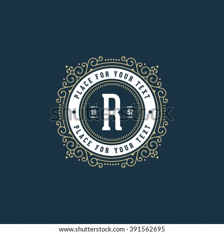 Stylish monogram with letter R  Sign for cafe  shop  store  restaurant. Stylish Monogram Letter R Sign Cafe Stock Vector 391562695