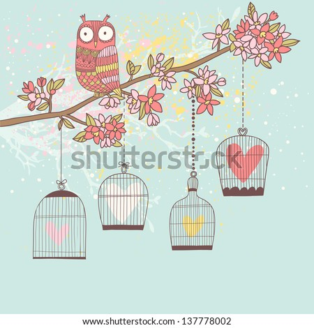 Stylish natural card in vector. Freedom concept background. Romantic wallpaper with owl, branch and cages