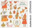 Stylish New Year and Christmas set in vector. Cute Santa Claus, Snowman, fir tree, gifts, dogs, bear, toys, penguin, rabbit and other holiday elements in bright colors - stock
