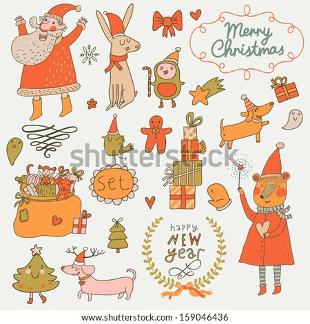 Stylish New Year and Christmas set in vector. Cute Santa Claus, Snowman, fir tree, gifts, dogs, bear, toys, penguin, rabbit and other holiday elements in bright colors - stock vector