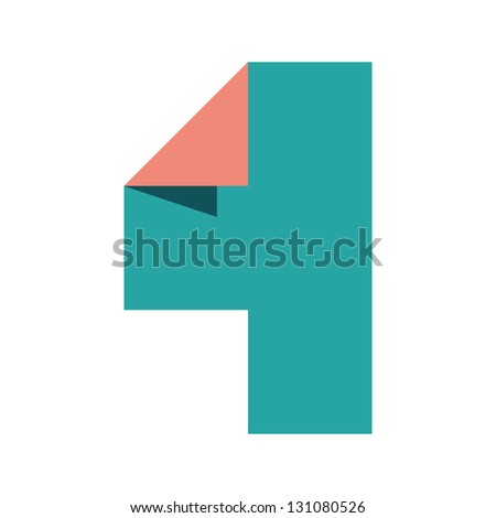 Stylish number 4 (Four - For) paper craft design. 4 you. - stock vector