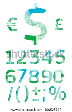 stylish numbers - stock vector