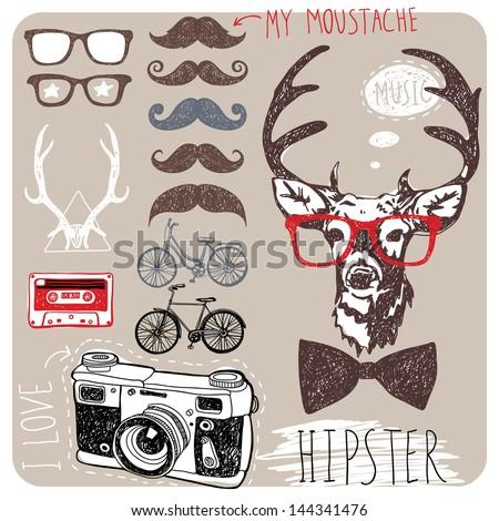 stylish objects - stock vector