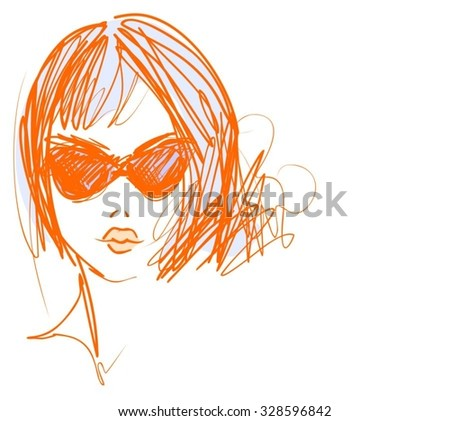 Stylish original hand-drawn graphics portrait  with beautiful young attractive girl model for design. Fashion, style, beauty. Graphic, sketch drawing. Sexy  woman.  - stock vector