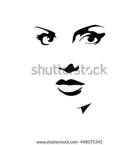 stylish original hand-drawn graphics portrait with beautiful young attractive girl model for design - stock vector