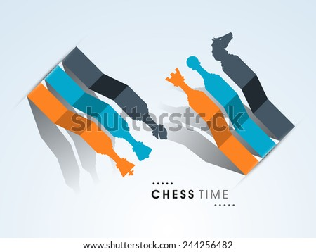 Stylish paper made chess figures in different color on sky blue background. - stock vector