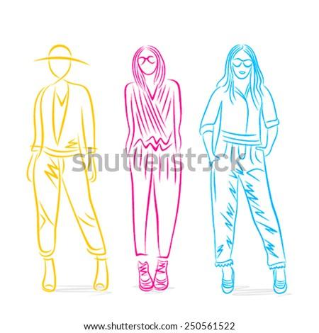 stylish pose on fashion model design vector - stock vector