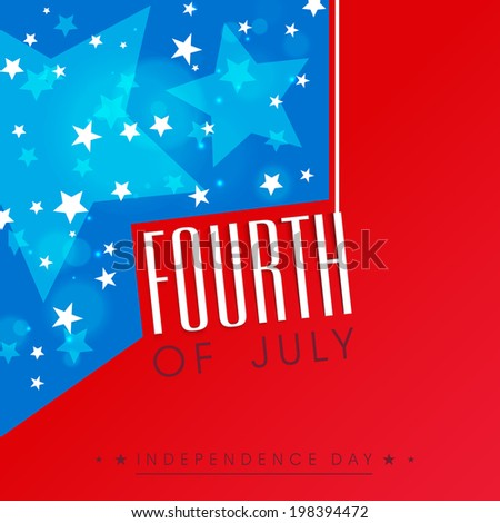 Stylish poster, banner or flyer design with hanging text Fourth of July on red and blue background.  - stock vector