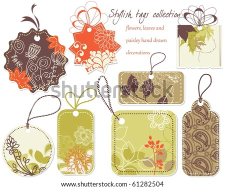Stylish price tags collection - stock vector