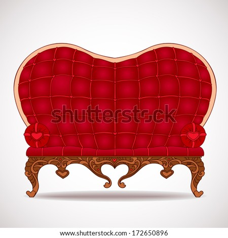 Stylish red leather sofa heart-shaped isolated on a white background