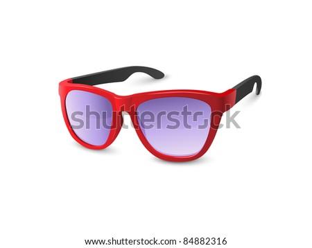 Stylish Red Sunglasses - stock vector