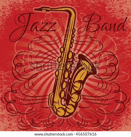 stylish retro promotional poster for the jazz concert with saxophone - stock vector