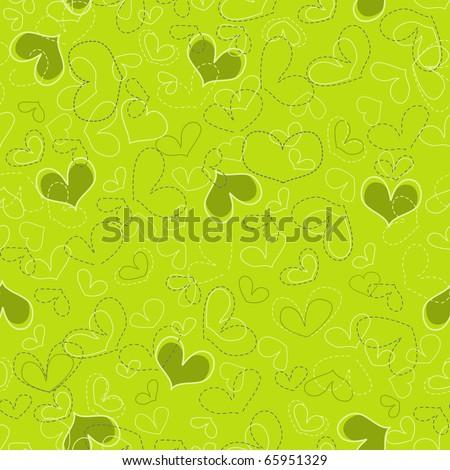 Stylish seamless hearts pattern - stock vector