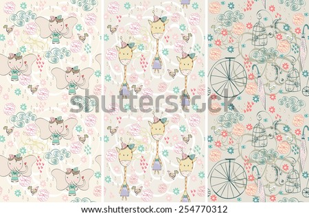 stylish seamless patterns. Vector hand drawn illustration - stock vector